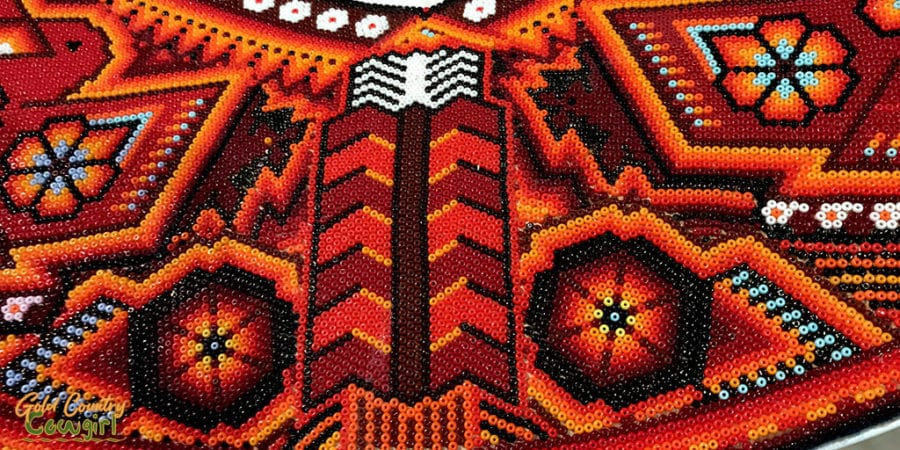 Wixarika beadwork close up - Symphony of Color exhibit, Internation Museum of Art and Science, McAllen, Texas