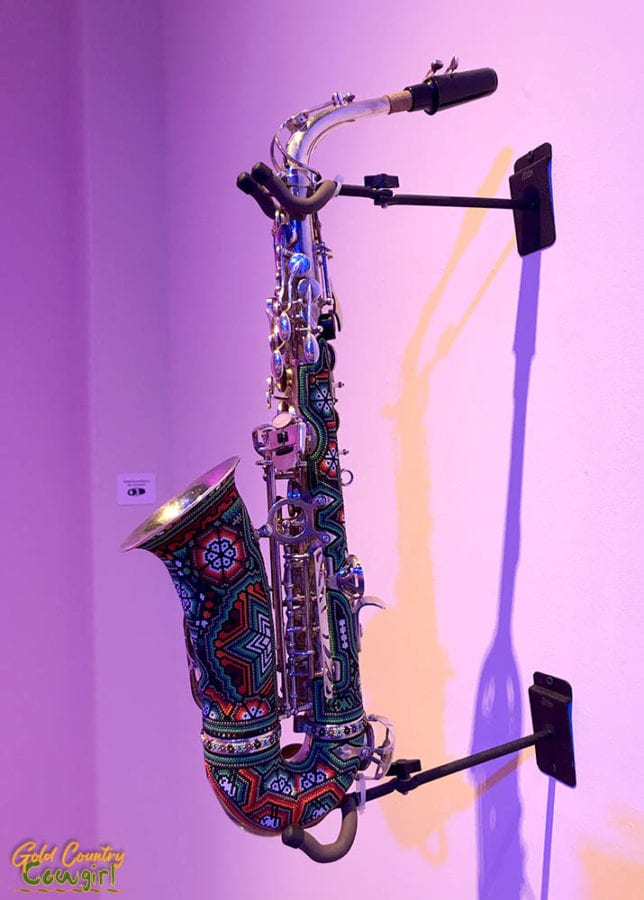 Wixarika saxophone - Symphony of Color exhibit, Internation Museum of Art and Science, McAllen, Texas