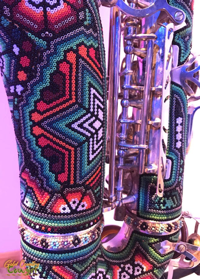 Wixarika saxophone close up - Symphony of Color exhibit, Internation Museum of Art and Science, McAllen, Texas