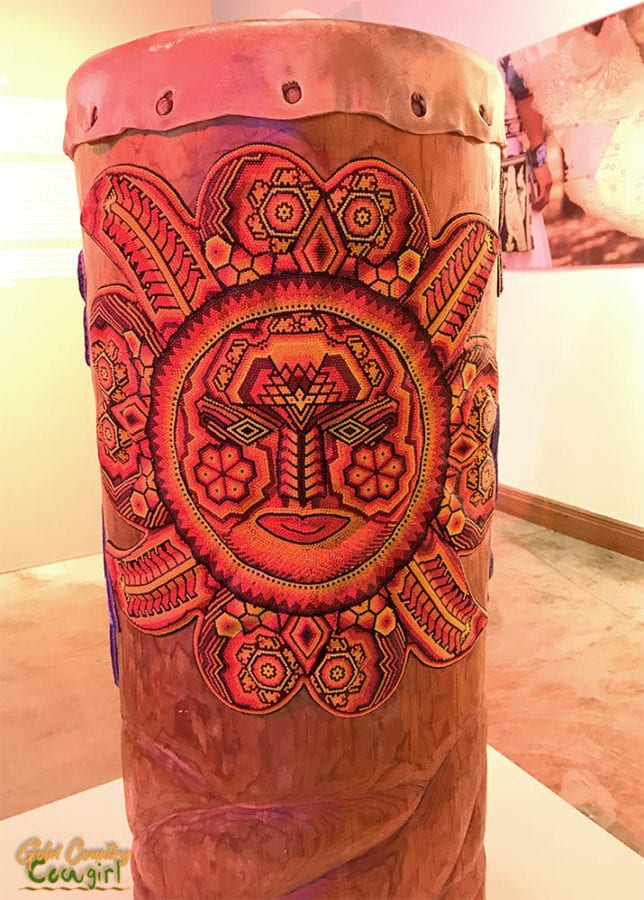 Wixarika tall single drum - Symphony of Color exhibit, Internation Museum of Art and Science, McAllen, Texas