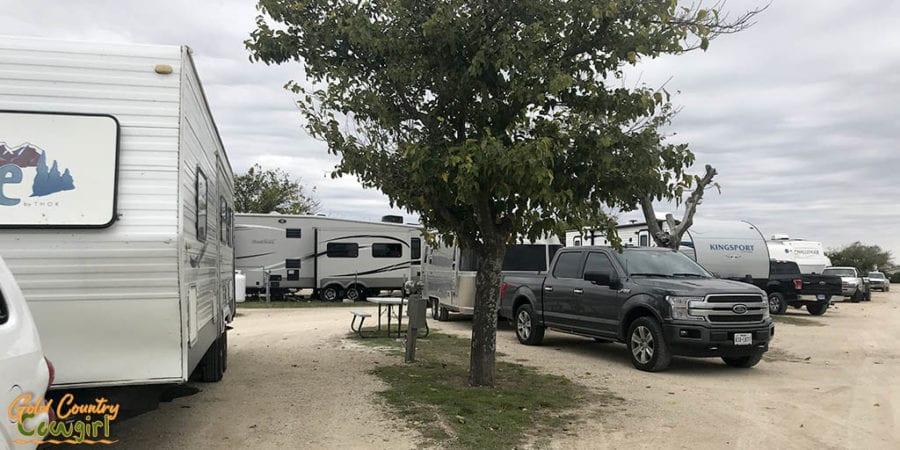 Parked RVs at Abilene RV Park