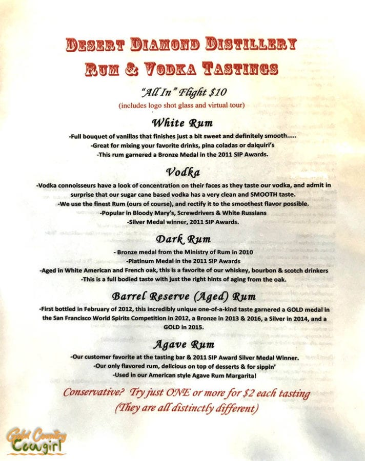 Desert Diamond Distillery tasting menu