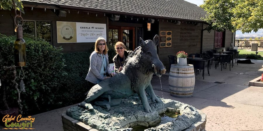 Eberle Winery front entrance with boar statue - Paso Robles wine on California to Texas RV Itinerary