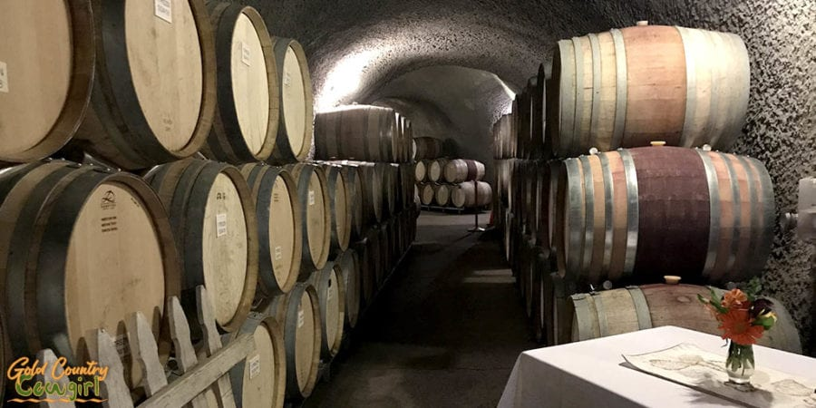 Eberle Winery rows of barrels on the cave tour