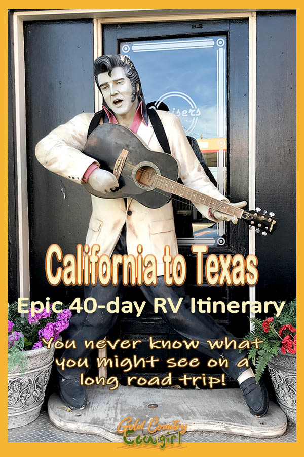statue of Elvis with text overlay: California to Texas Epic 40-day RV Itinerary