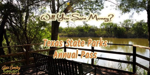 bench overlooking lake with text overlay Texas State Parks Annual Pass