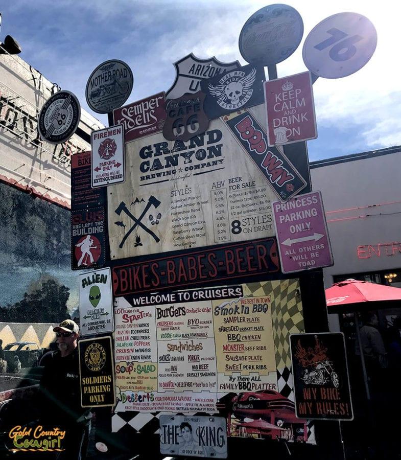 Williams AZ diner Cruizers outdoor menu board