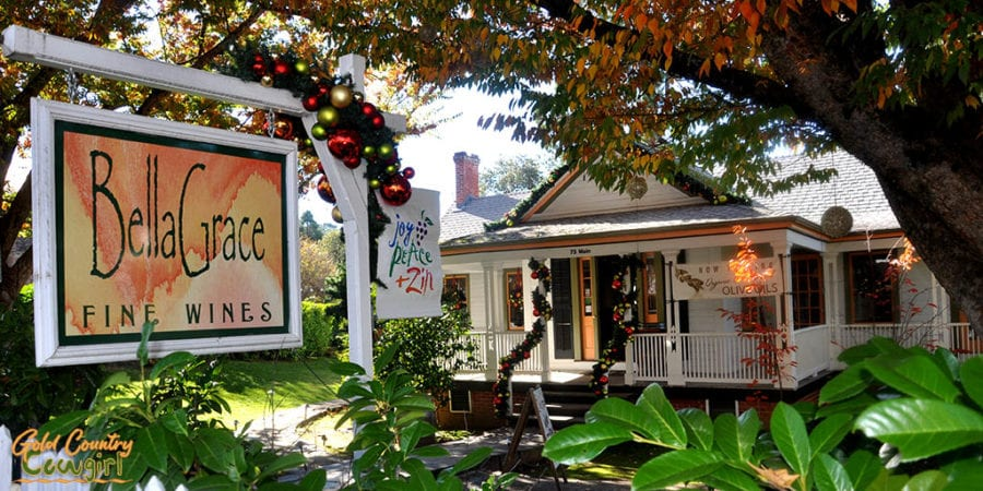 exterior of Bella Grace tasting room on Main Street in Sutter Creek