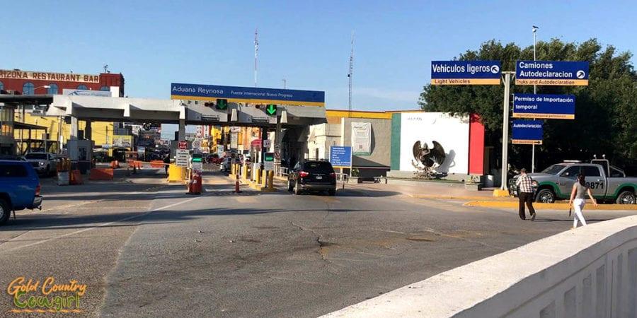 Mexican side of border crossing looking down main street of Nuevo Progreso Mexico