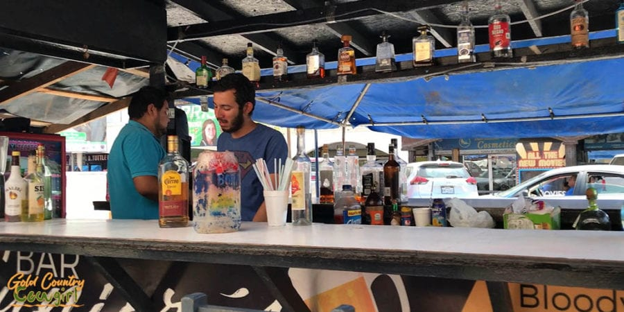 An open air bar on the sidewalk in Nuevo Progreso Mexico