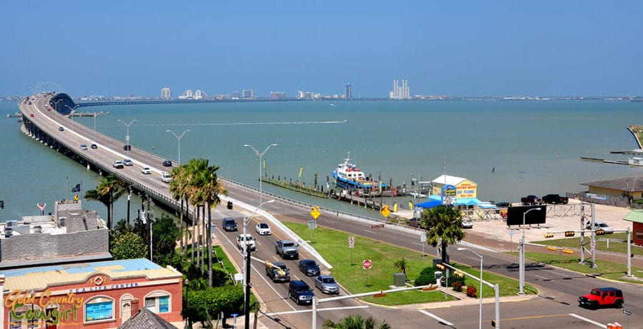 view of Queen Isabella Causeway across Laguna Madre from Port Isabel Lighthouse