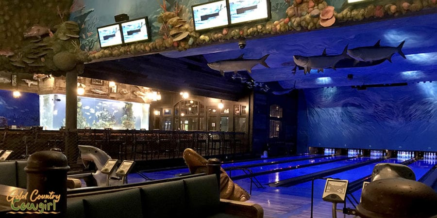 aquarium over bar and bowling lanes - one of many indoor activities in Harlingen