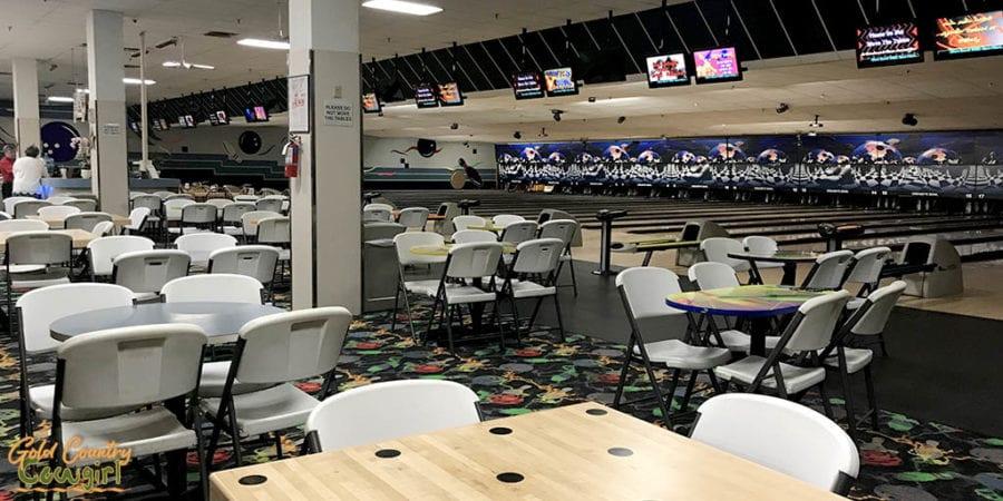 lanes and tables at Creasey's Bowl