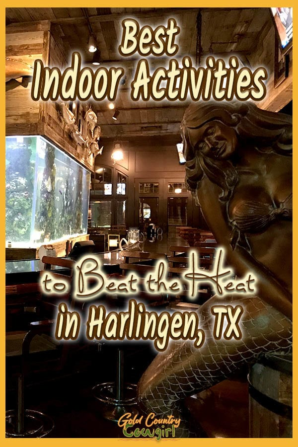 mermaid statue, long bar and fish tank with text overlay: Best Indoor Activities to beat the heat in Harlingen, TX