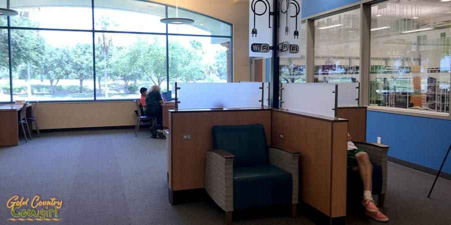 charging station and view at Harlingen Public Library