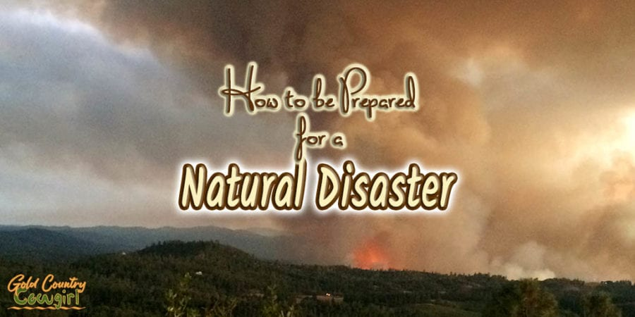 Flames and smoke from wildfire with text overlay How to be Prepared for a Natural Disaster
