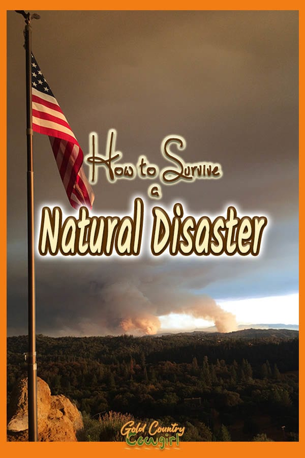 American flag in foreground with columns of smoke in the distance. Text overlay: How to survivie a natural disaster