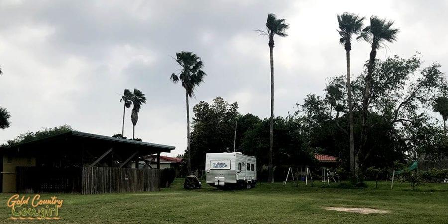 RV parked on grass
