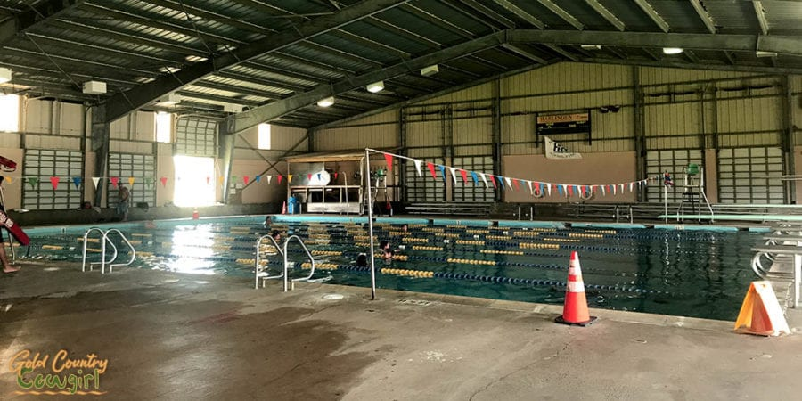 Pendleton Pool with lanes roped off for lap swimming
