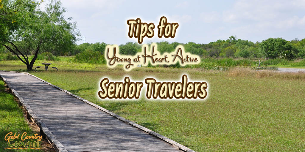 wooden path with text overlay: Tips for young at heart, active senior travelers
