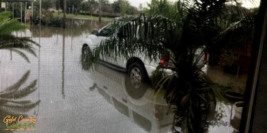 vehicle sitting in floodwater from sever thunderstorm