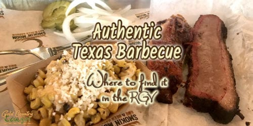 typical authentic Texas barbecue plate with text overlay: Authentic Texas Barbecue Where to find it in the RGV