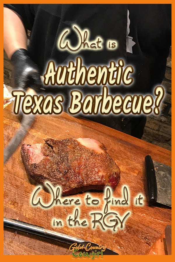 Server preparing to slice brisket with text overlay: What is authentic Texas barbecue? Where to find it in the RGV