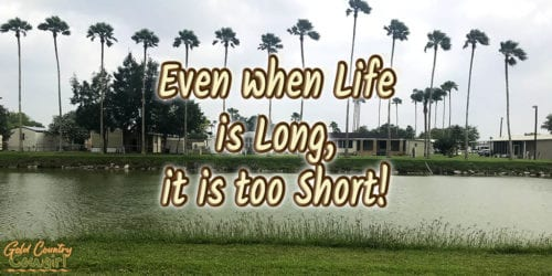 palm tree lined pond with text overlay: Even when life is long, it is too short!