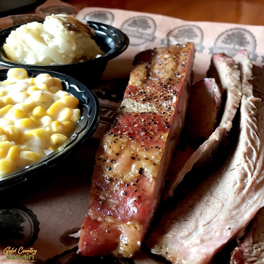 Typical authentic Texas barbecue plate with brisket and rib