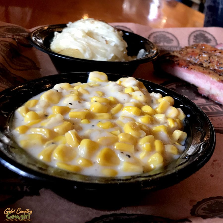 creamed corn and scalloped potatoes at The Smoking Oak