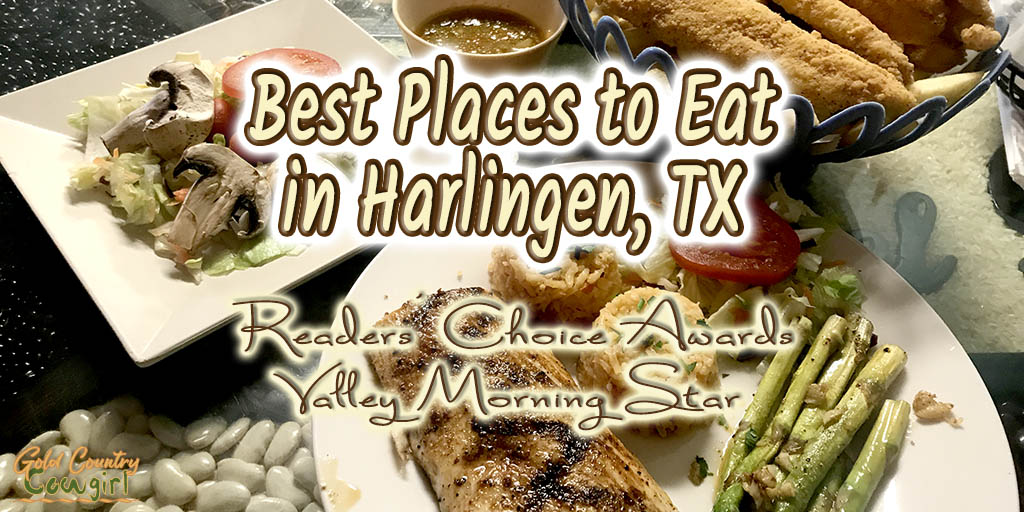 a seafood dinner with text overlay: Best places to eat in Harlingen, TX Readers' Coice Awards Valley Morning Star
