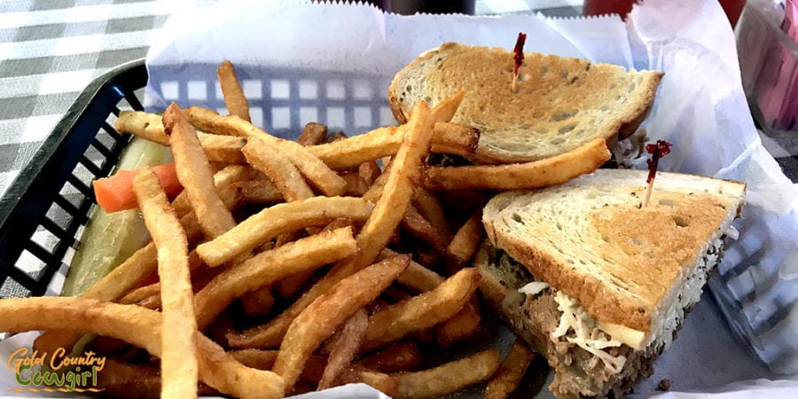 Texas Reuben sandwich and fries at New York Deli