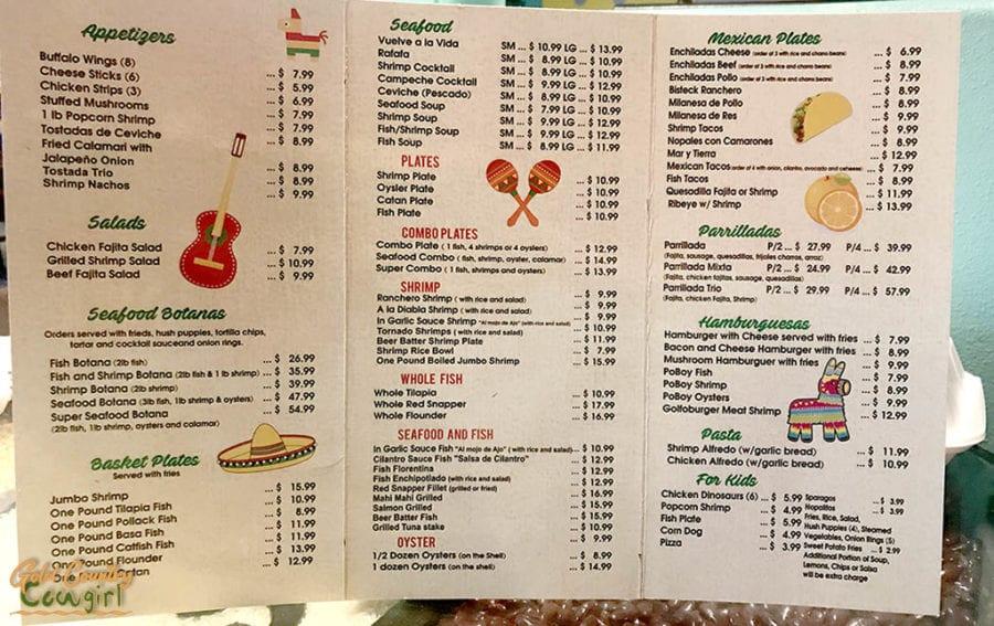 Sabores del Golfo menu