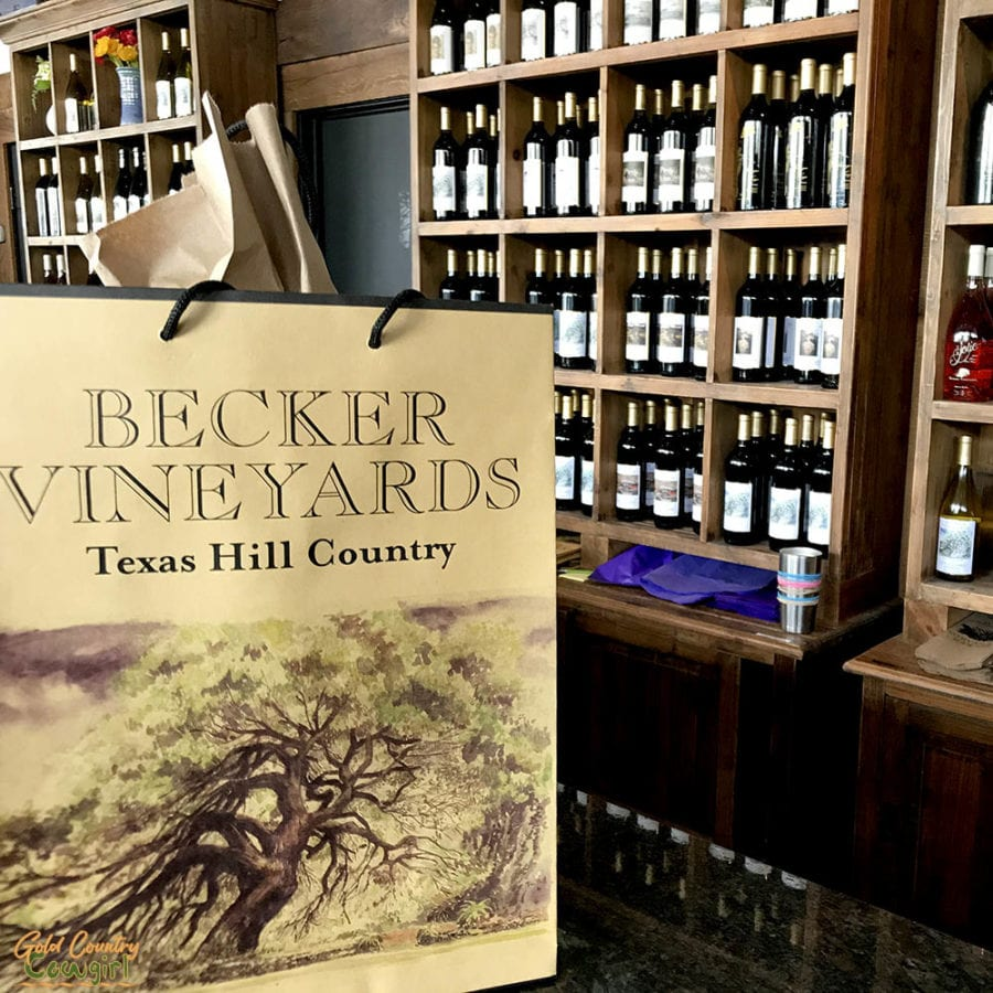 Becker Vineyards tasting room in Fredericksburg with merchandise bag