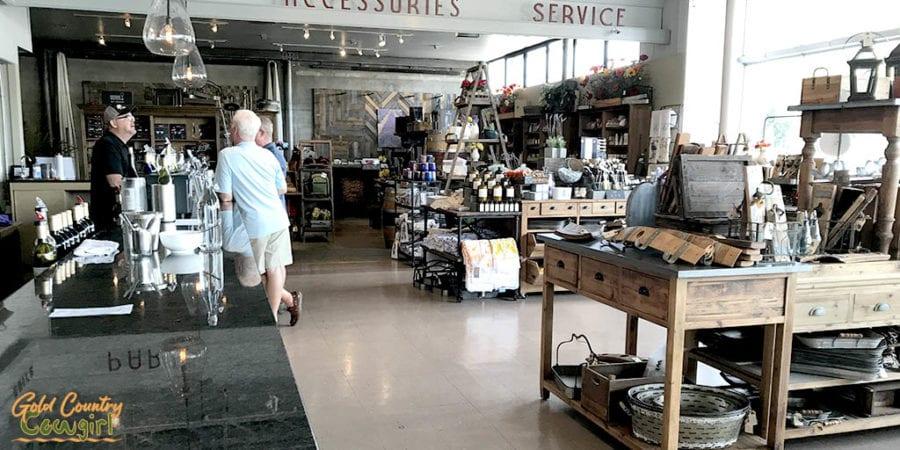 Becker Vineyards wine tasting room and merchandise