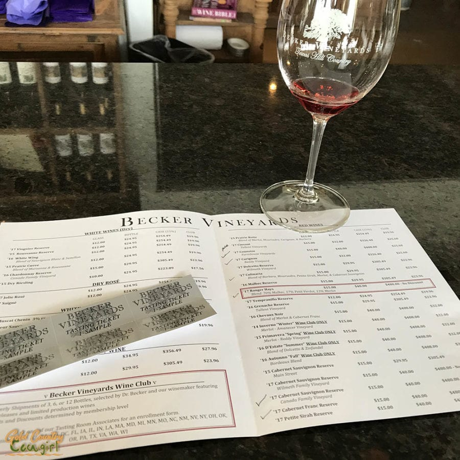 Becker Vineyards in Texas Hill Country wine tasting menu