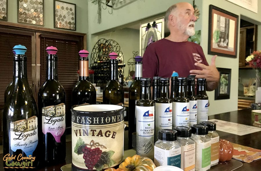 Owner Bill Bledsoe in tasting room at Texas Legato Winery