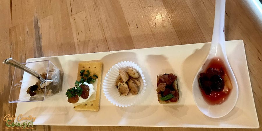 food bites for wine tasting pairing at Kuhlman Cellars in Texas Hill Country