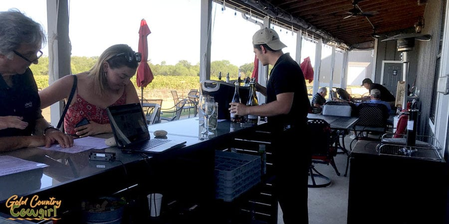 outdoor wine tasting bar at Kuhlman Cellars in Texas Hill Country