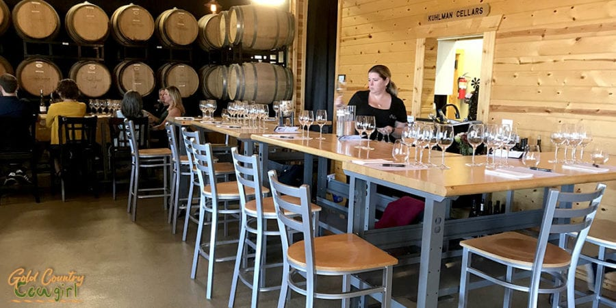 Kuhlman Cellars in Texas Hill Country set up for wine tasting and food pairing