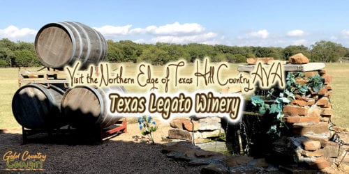 barrels and a waterfall in front of large grassy field with text overlay: Visit the northern edge of Texas Hill Country AVA Texas Legato Winery