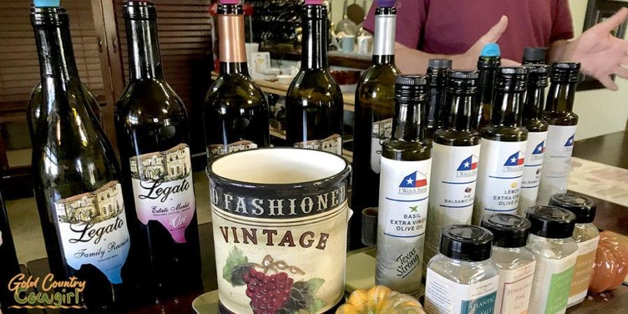 bottles in tasting room at Texas Legato Winery