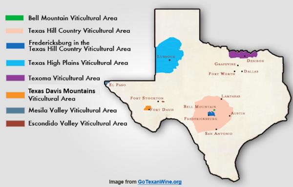 Texas wine regions and AVAs