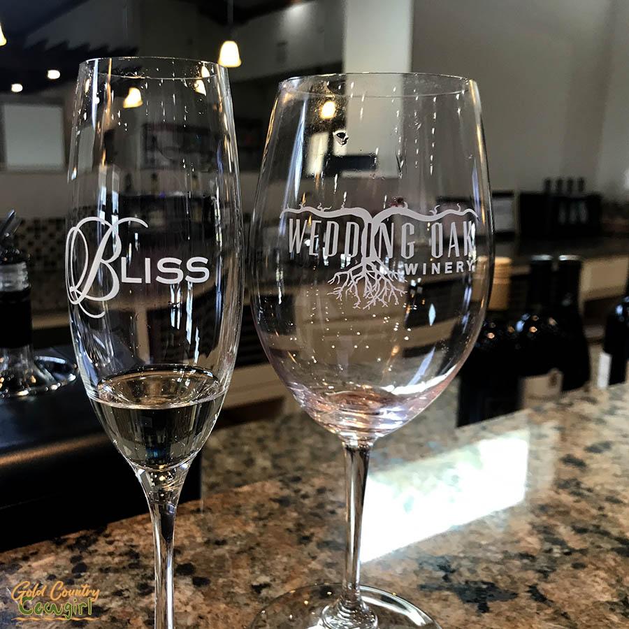 wine tasting glasses at Wedding Oak Winery tasting room