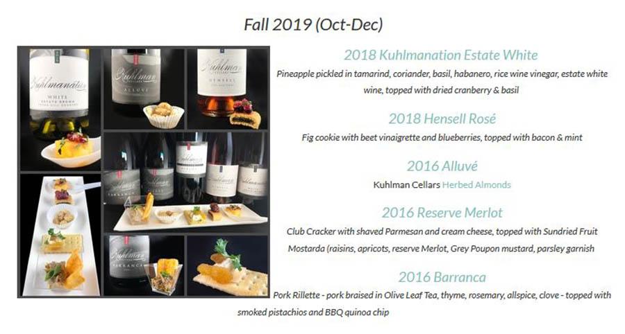 Fall 2019 wine and food pairing menu for Kuhlman Cellars