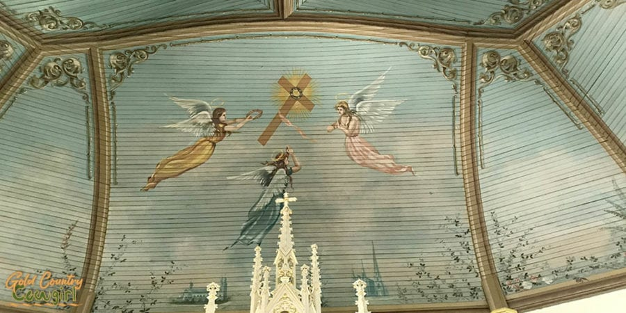 detail of painting on ceiling of one of the Painted Churches in Schulenburg, Texas