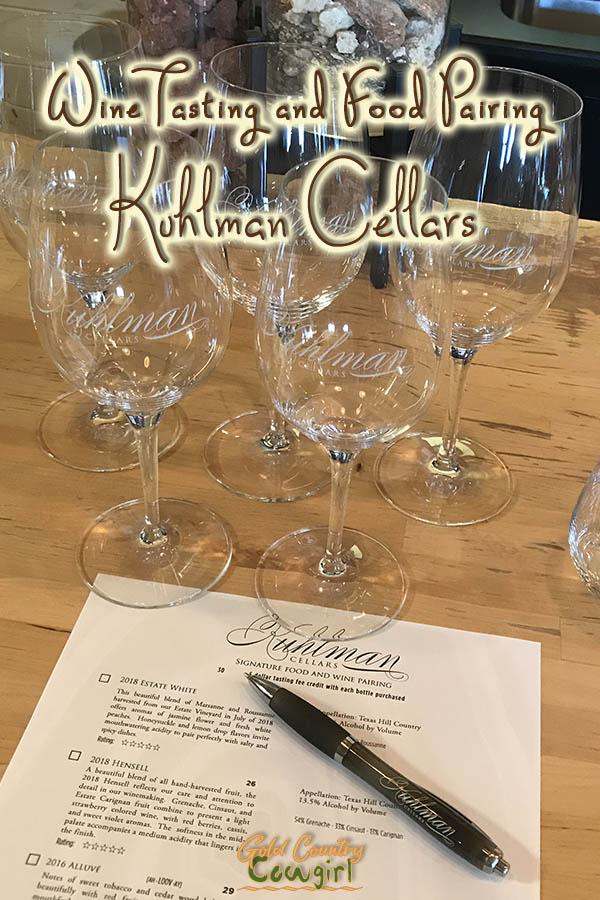 glasses and tasting menu with text overlay: Wine tasting and food pairing Kuhlman Cellars