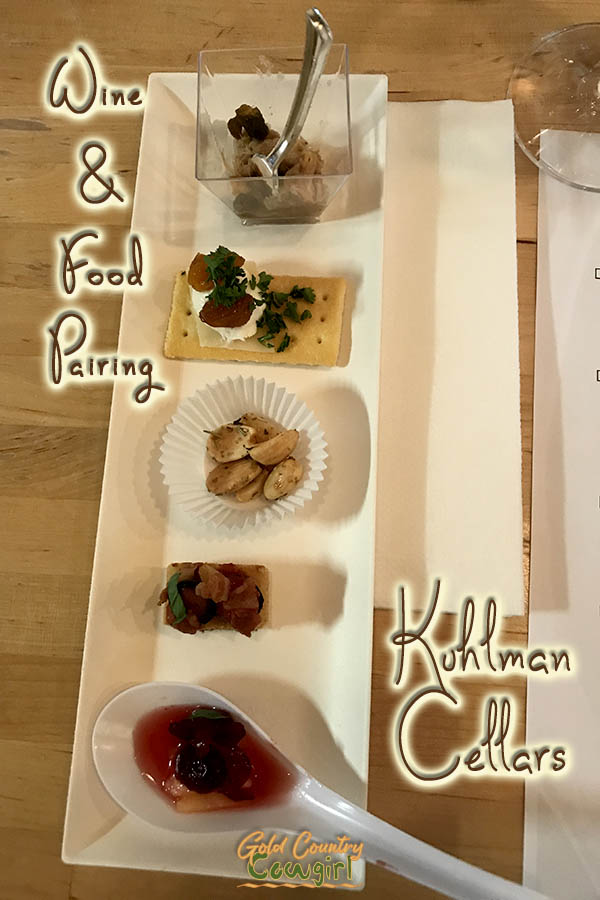 small bites for tasting with text overlay: Wine and food pairing Kuhlman Cellars