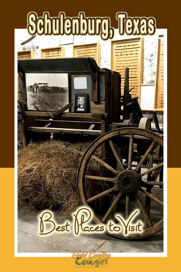 Schulenburg Museum display with text overlay: Schulenburg, Texas Best Places to Visit