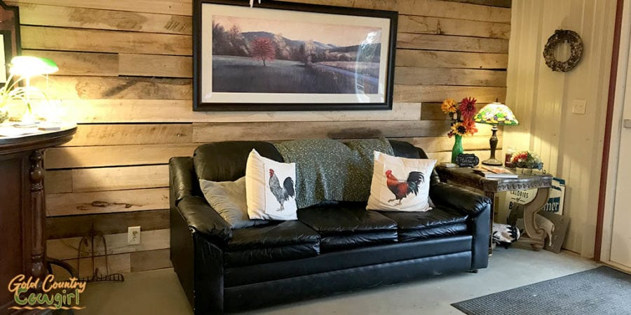 Blue River Valley Winery sofa in tasting room